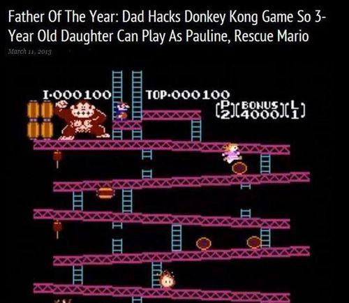 Dad re-writes Donkey Kong for girl to be hero